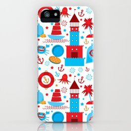 pattern with sea icons on white background. Seamless pattern. Red and blue iPhone Case