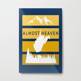Almost Heaven West Virginia Retro Nature Print Metal Print