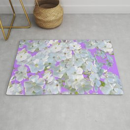 DELICATE LILAC & WHITE LACE FLORAL GARDEN PATTERNS Rug