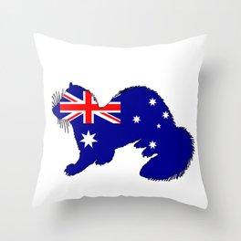 Australian Flag - Ferret Throw Pillow
