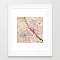vienna Framed Art Prints featuring Vienna by MapMapMaps.Watercolors