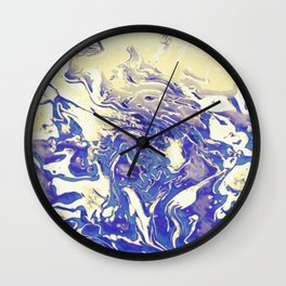 Colossal - tan blue purple gradient abstract swirl pattern Wall Clock