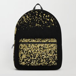 Sparkling gold glitter confetti on black background- Luxury pattern Backpack