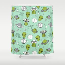 Alien outer space cute aliens french fries rad sodas pattern print mint Shower Curtain