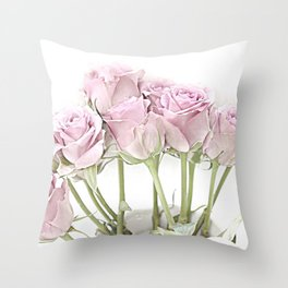 Shabby Chic Pastel Pink Roses Throw Pillow