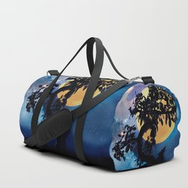 Wolf howling at the full moon Duffle Bag