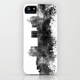 Greensboro skyline in black watercolor iPhone Case