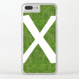 X initial letter alphabet on the grass Clear iPhone Case