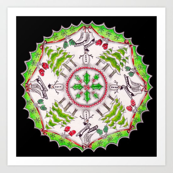 Winter Wreath Mandala (black background) by katealli