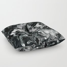 Black and white Marble texture acrylic paint art Floor Pillow