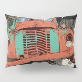 Rusted old truck, wolf skull, raven. Pillow Sham
