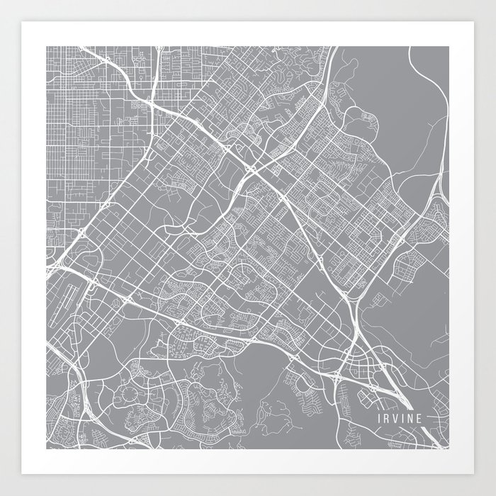 Irvine Map, California USA - Pewter Art Print by mainstreetmapscolor