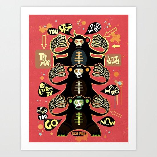 Traffic light monkey 2 Art Print