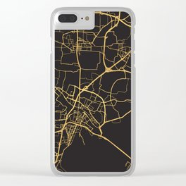 VENICE ITALY GOLD ON BLACK CITY MAP Clear iPhone Case