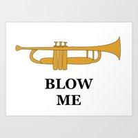trumpet Art Prints featuring Trumpet by Laura Maria Designs