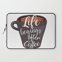 Life begins after coffee. Typography design Laptop Sleeve