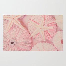 Seashells, Shells, Sea Urchin, Starfish, Pink, Beach, Pastel, Ocean, Sea, Nature Rug