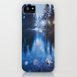Magical Blue Forest Water Reflection - Nature Photography iPhone Case