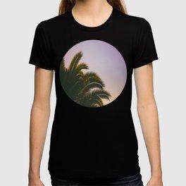 Sunset Purple Palm Tree Circle Photo T-shirt