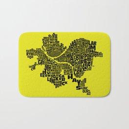 Pittsburgh Neighborhood Typography Map Bath Mat