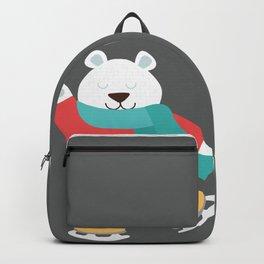Polar Bear Go Skiing for Merry Christmas Backpack