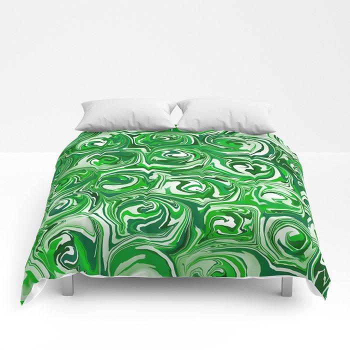 Emerald Green, Green Apple, and White Paint Swirls Comforters