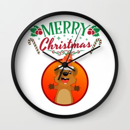 Merry Christmas Happy Quokka with Hat Kangaroo Wall Clock