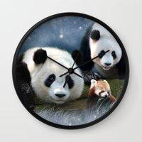pandas Wall Clocks featuring Pandas by Julie Hoddinott