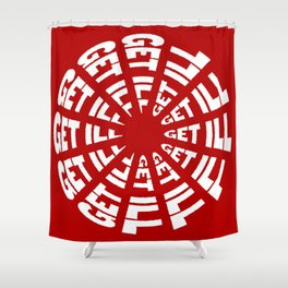 Time to Get Ill Clock - Red Shower Curtain