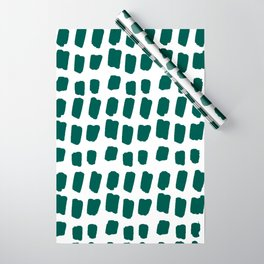 Green Abstract Paint Splotches Wrapping Paper