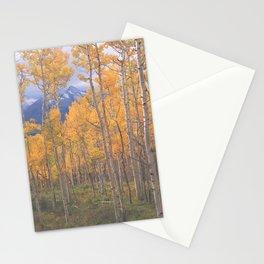 Brilliant Aspen color, framing Wilson Peak near Telluride, Colorado Stationery Cards