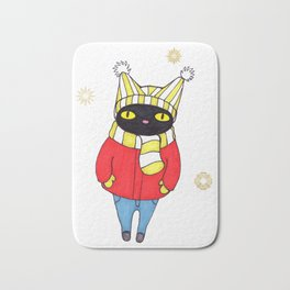 Black Cat Bundled up in Winter Hat, Scarf, Mittens, and Coat Bath Mat