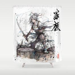 Samurai Girl with Japanese Calligraphy - Family - Ciri Parody Shower Curtain