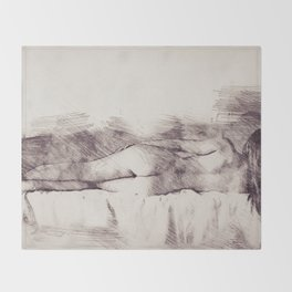 Lying on the bed. Nude studio Throw Blanket