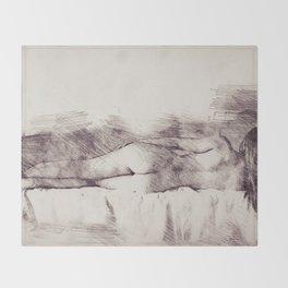 Lying on the bed. Nude studio Throw Blanket