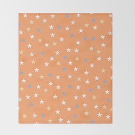 Peach Pastel Background With Stars Throw Blanket