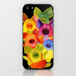 colorful pigs iPhone Skin