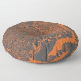 Philadelphia 2 map orange Floor Pillow