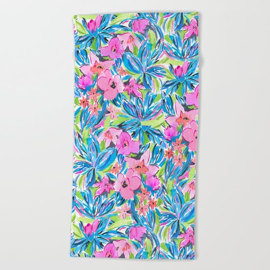 Flaunting Floral Aqua Beach Towel
