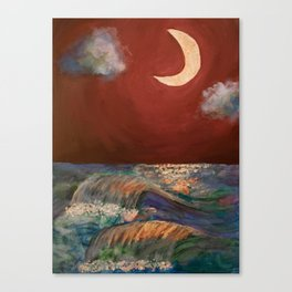 Moonlit Sea + Donation for Marine Conservation Canvas Print