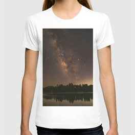 Summer Milky Way Over the Lake T-shirt