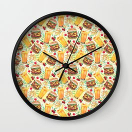 burgers, juices & fries Wall Clock