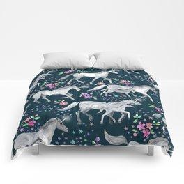 Unicorns and Stars on Dark Teal Comforters