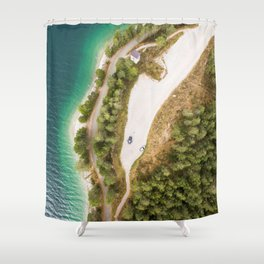 dolomites alps road lake trees forrest drone aerial shot horizon clouds vertical Shower Curtain