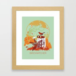 Birdwatcher (reds) Framed Art Print