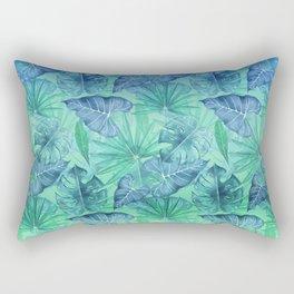 Blue and Ocean Green Summer Tropical Jungle Rectangular Pillow