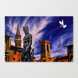 Fountain Of Neptune Florence Italy Canvas Print