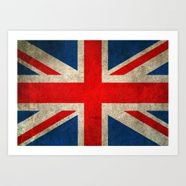 Old and Worn Distressed Vintage Union Jack Flag Art Print