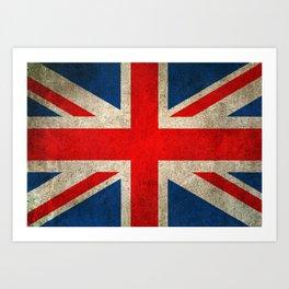 Old and Worn Distressed Vintage Union Jack Flag Art Print