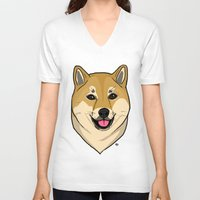 shiba V-neck T-shirts featuring Shiba Inu by Bleachydrew